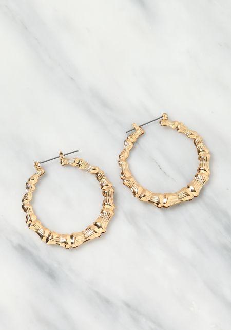 Gold Bamboo C Hoop Earrings