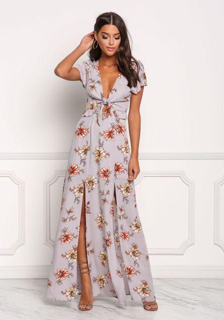 Lilac Floral Crepe Two Slit Cut Out Maxi Dress