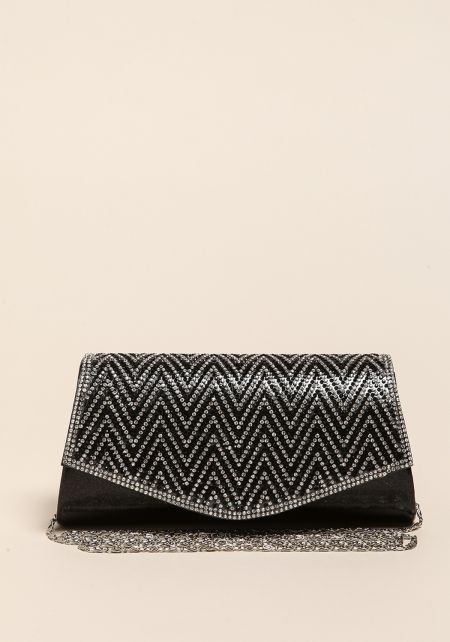 Black Chevron Rhinestone Metallic Clutch