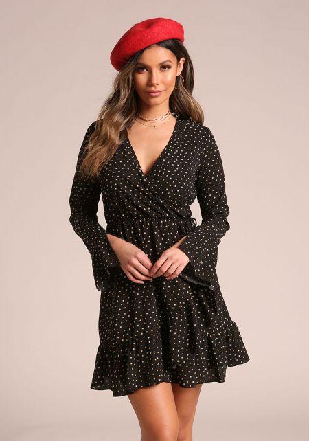 Black Polka Dot Ruffle Layered Flared Dress