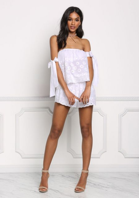 White High Rise Eyelet Shorts