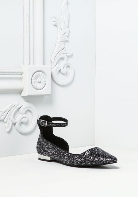 Black and Silver Sparkle Ankle Strap Flats