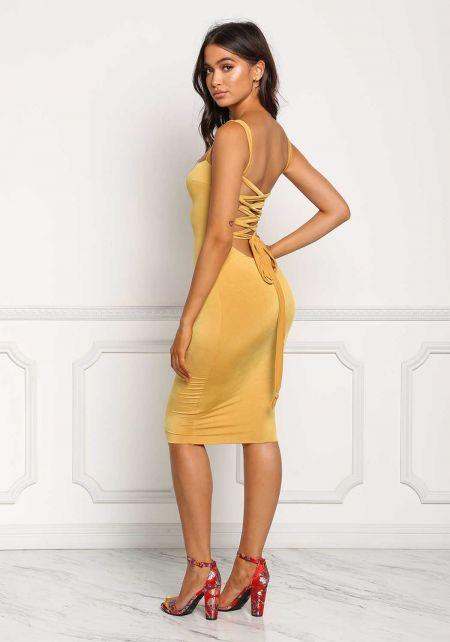 Mustard Back Cross Strap Bodycon Dress