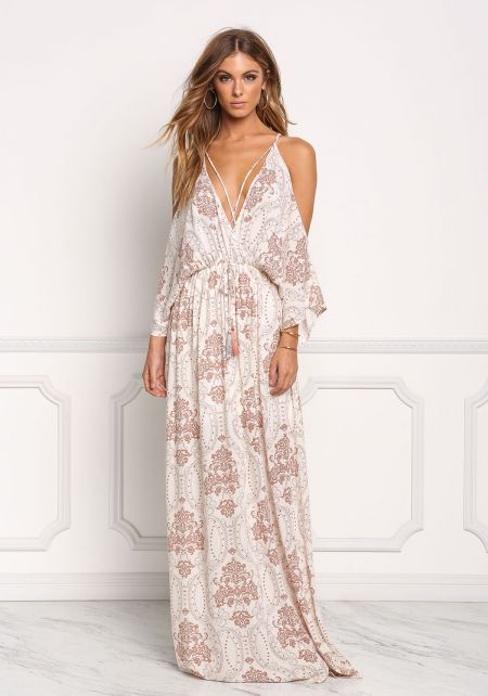 Mauve Brocade Crepe Cold Shoulder Maxi Dress