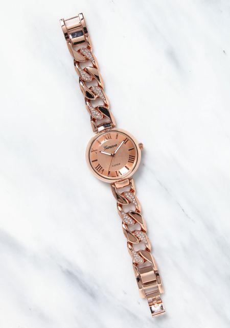 Rose Gold Rhinestone Chain Analog Watch