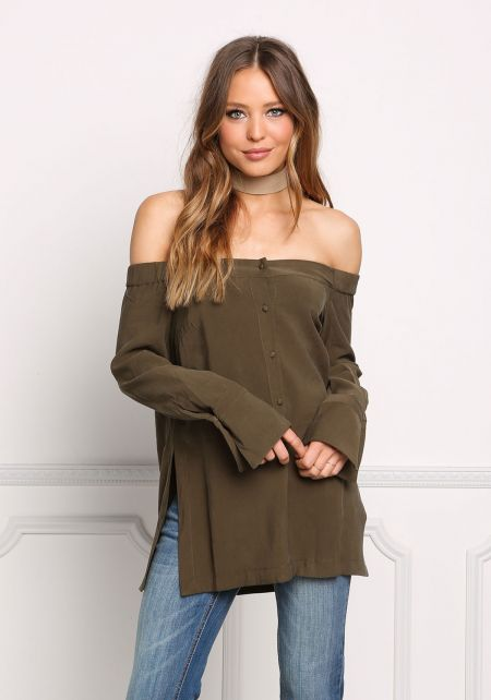 Olive Button Down Off Shoulder Slit Blouse