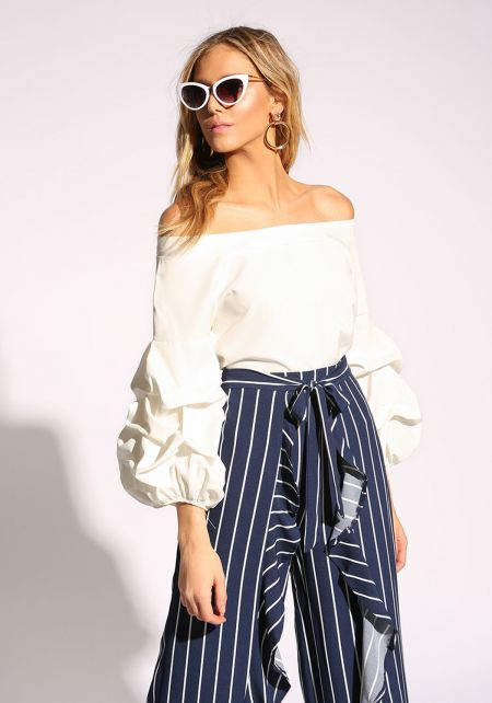 White Off Shoulder Puff Sleeve Blouse
