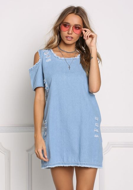 Light Denim Cold Shoulder Distressed Pocket Shift
