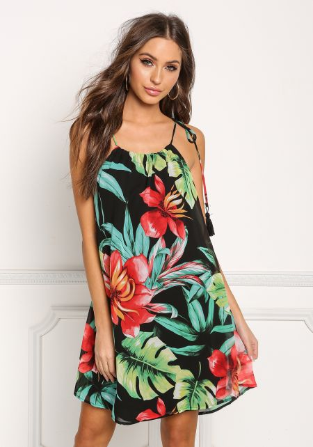 Multi Tropical Chiffon Tassel Shift Dress