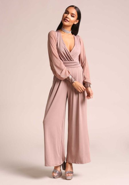 Mauve Sequin Cuff Wide Legged Jumpsuit