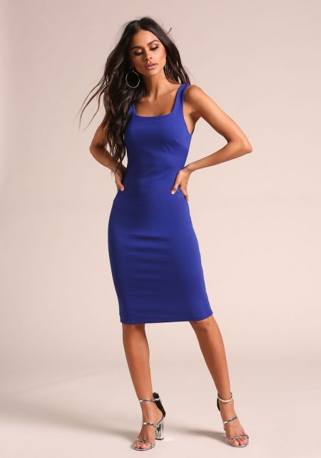 Royal Blue Square Neck Bodycon Dress