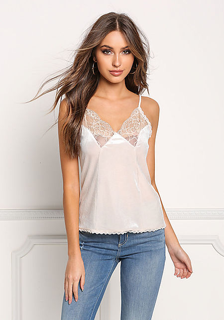 Cream Lace Trim Velvet Tank Top