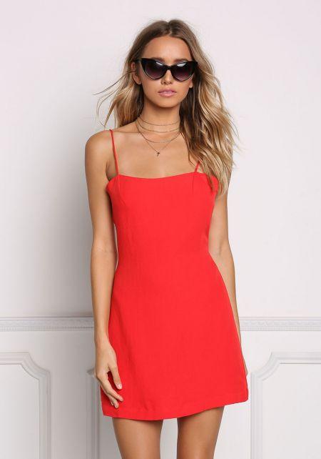 Red Tie Back Shift Slip Dress