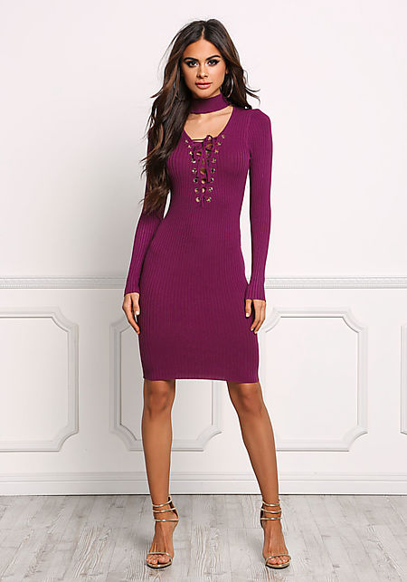 Burgundy Choker Lace Up Plunge Bodycon Dress