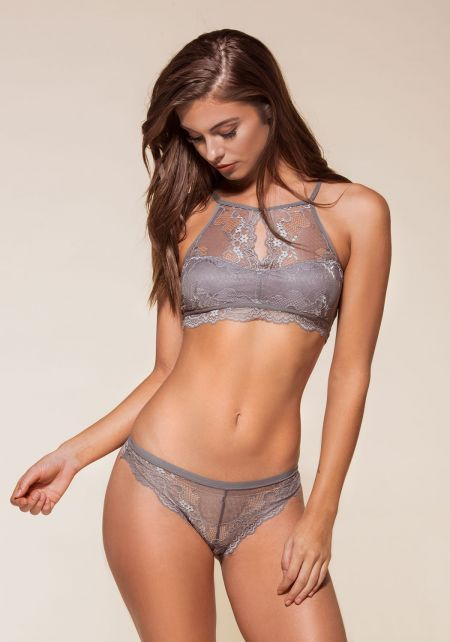 Grey Floral Lace Panties