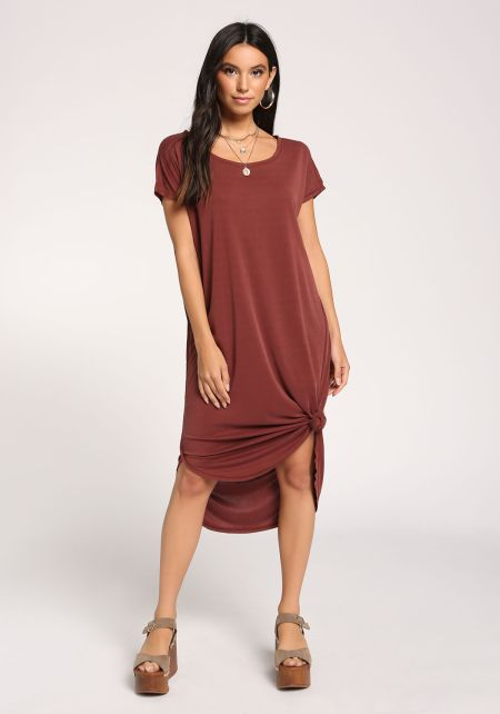 Brick Knotted Shift Midi Dress