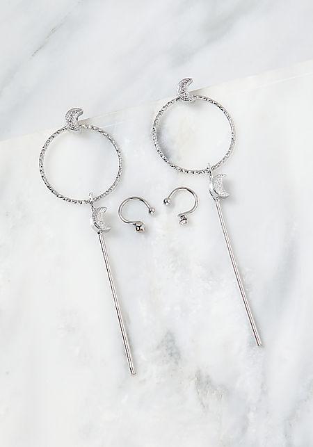 Silver Cuff & Drop Earrings Set
