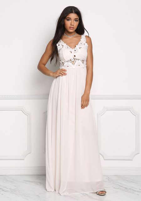 Blush Crochet Chiffon Maxi Dress