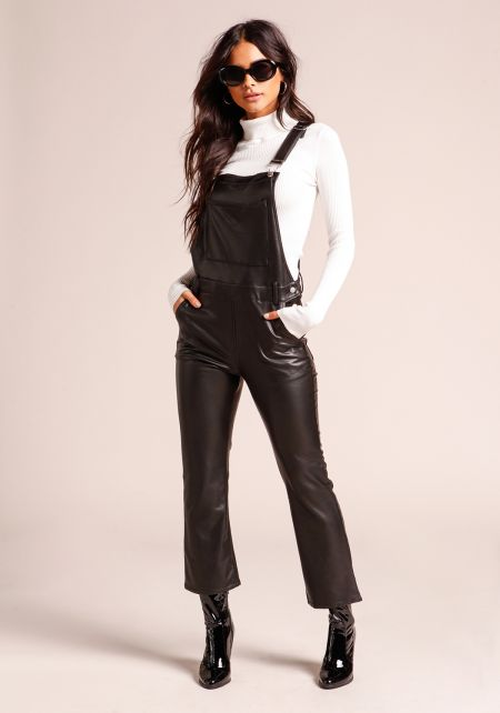 Black Leatherette Multi Pocket Cropped Overalls