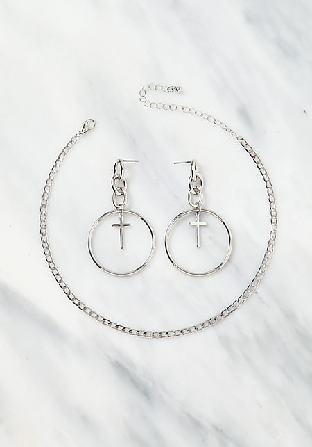 Silver Cross Hoop Earrings & Choker Set