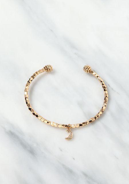 Gold Moon Charm Cuff Bracelet