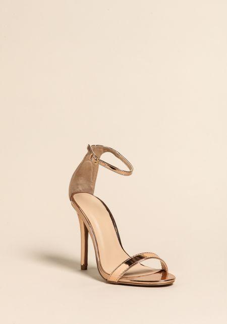 Rose Gold Rhinestone Ankle Strap Heels