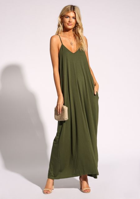 Olive Jersey Knit Pocket Maxi Dress