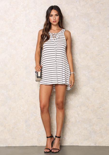 Ivory Striped Thermal Mini Dress