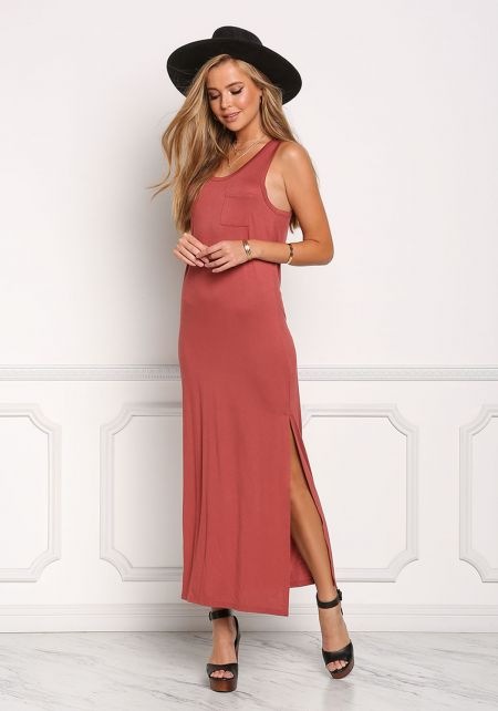 Brick Pocket Slit Maxi Dress