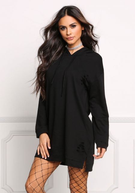 Black Distressed Hooded Shift Sweater Dress