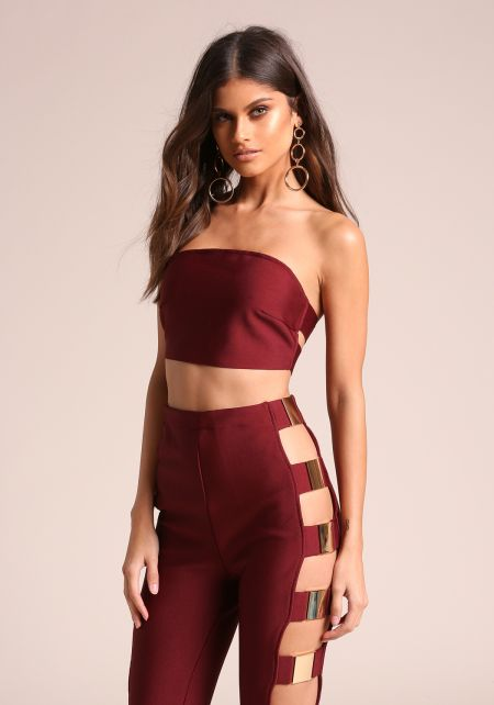 Wine Bandage Cropped Tube Top
