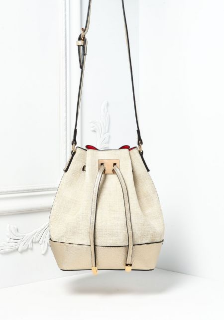 Beige Textured Leatherette Bucket Bag with Pouch