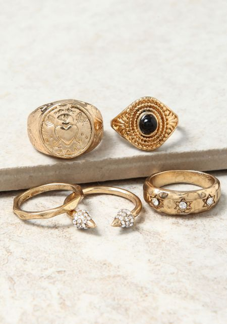 Gold Textured Assorted Rings Set