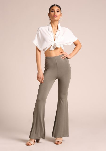 Olive Bell Bottom High Rise Pants