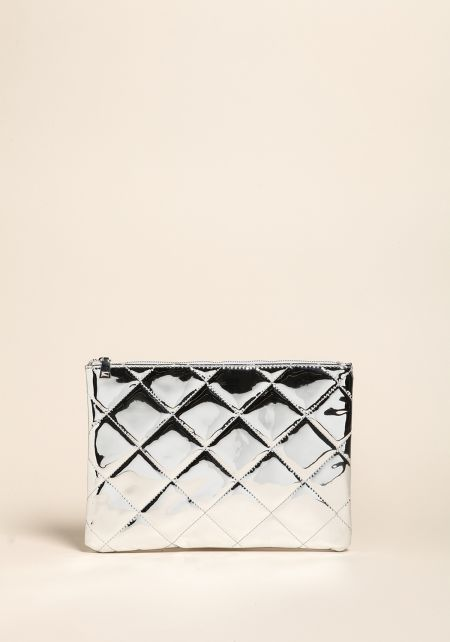 Silver Chrome Quilted Clutch
