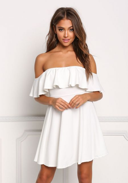 Ivory Ruffle Flared Off Shoulder Dress