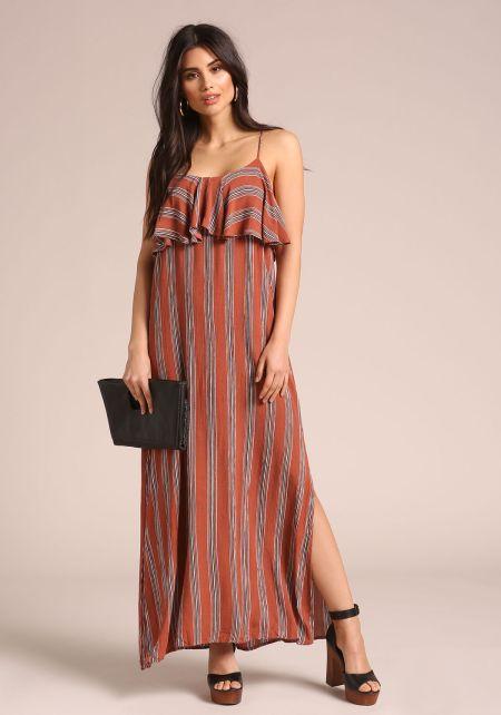 Rust Striped Maxi Ruffle Dress