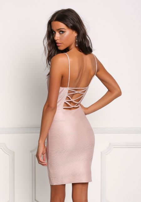 Blush Plunge Back Cross Strap Bodycon Dress