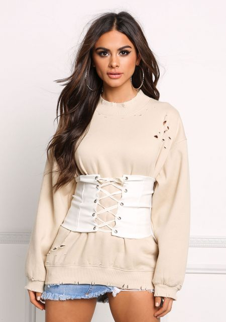 Ivory Lace Up Corset Belt