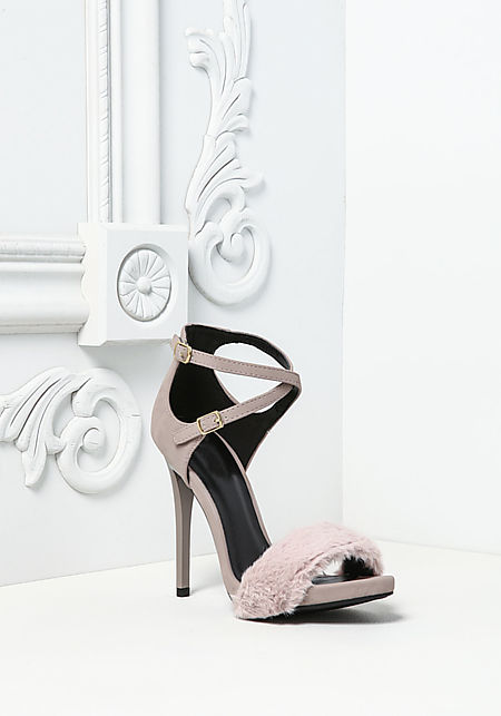 Taupe Leatherette Faux Fur Ankle Strap Heels