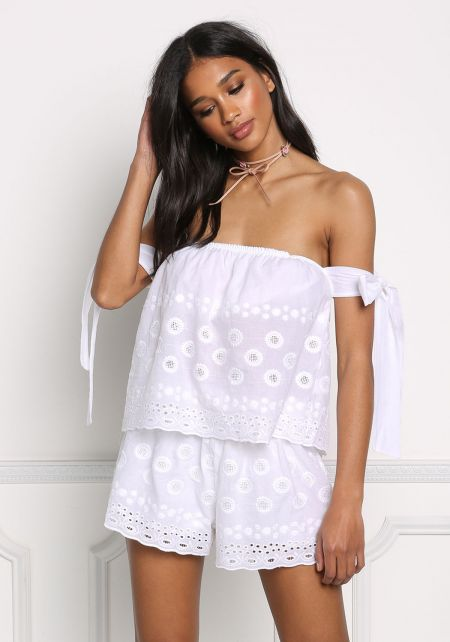 White Off Shoulder Tie Strap Eyelet Blouse