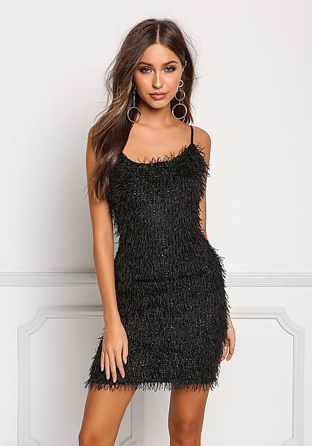 Black Faux Feather Fringe Shimmer Bodycon Dress