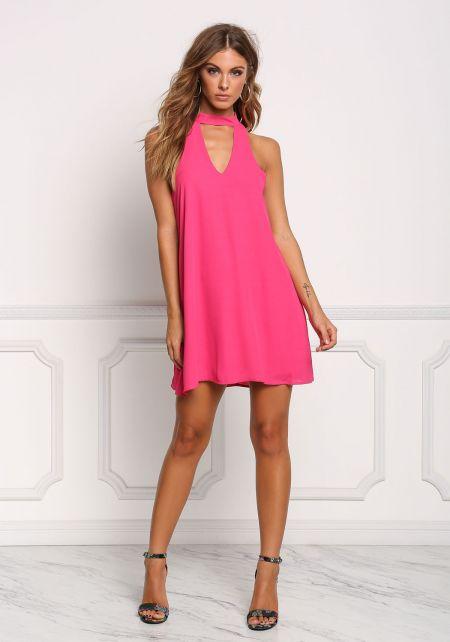 Fuchsia Cut Out Choker Shift Dress