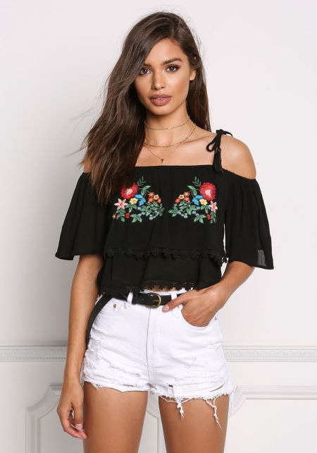 Black Floral Embroidered Crepe Crop Top