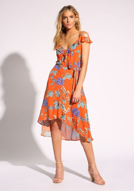 Orange Floral Ruffle Faux Wrap Midi Dress