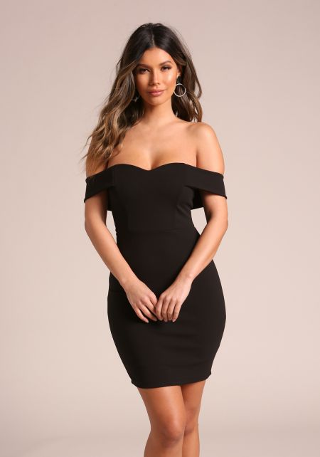 Black Sweetheart Off Shoulder Bodycon Dress