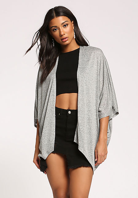 Heather Grey Draped Dolman Knit Cardigan