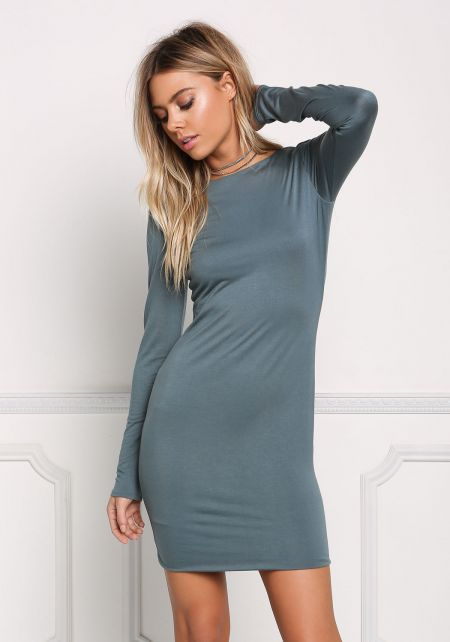 Dusty Blue Solid Bodycon Dress