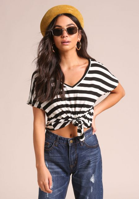 White and Black Knotted Jersey Knit Cropped Tee