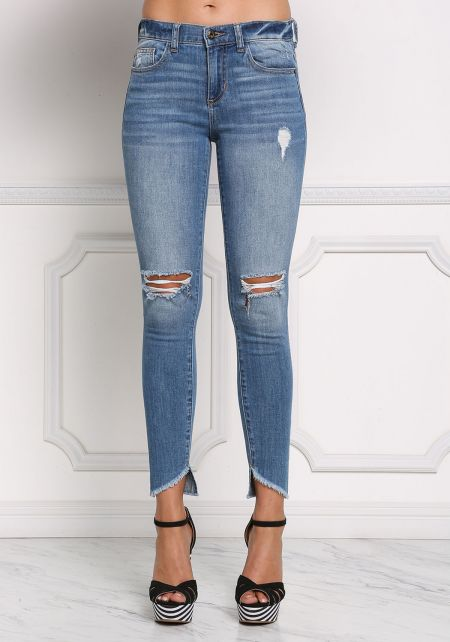 Denim Distressed Mid Rise Skinny Jeans